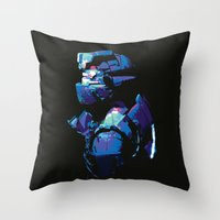 dead space Throw Pillows featuring Dead Space: Splatter Isaac by Fiona Ng