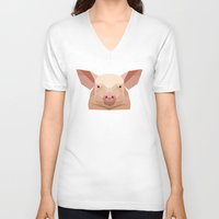 pig V-neck T-shirts featuring Pig by Alysha Dawn