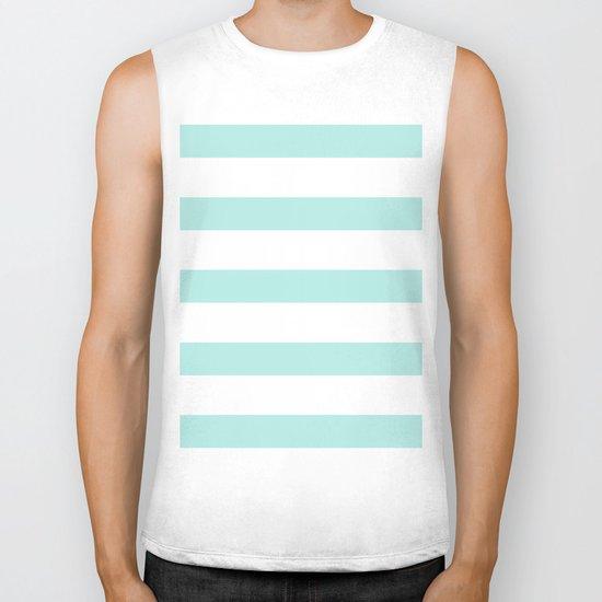 Aqua blue and White stripes lines - horizontal on #Society6 Biker Tank