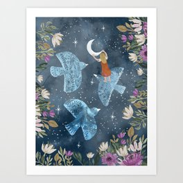 Birds and moon Art Print