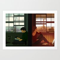 grantaire Art Prints featuring Enjolras & Grantaire by rdjpwns