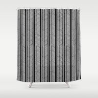 herringbone Shower Curtains featuring Herringbone Stripe by Project M