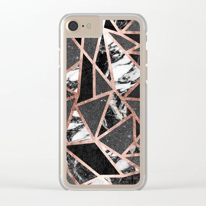 Modern Rose Gold Glitter Marble Geometric Triangle Clear iPhone Case