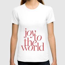 joy in white T-shirt
