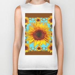 Western Sunflowers Turquoise-Coffee Brown Art Biker Tank