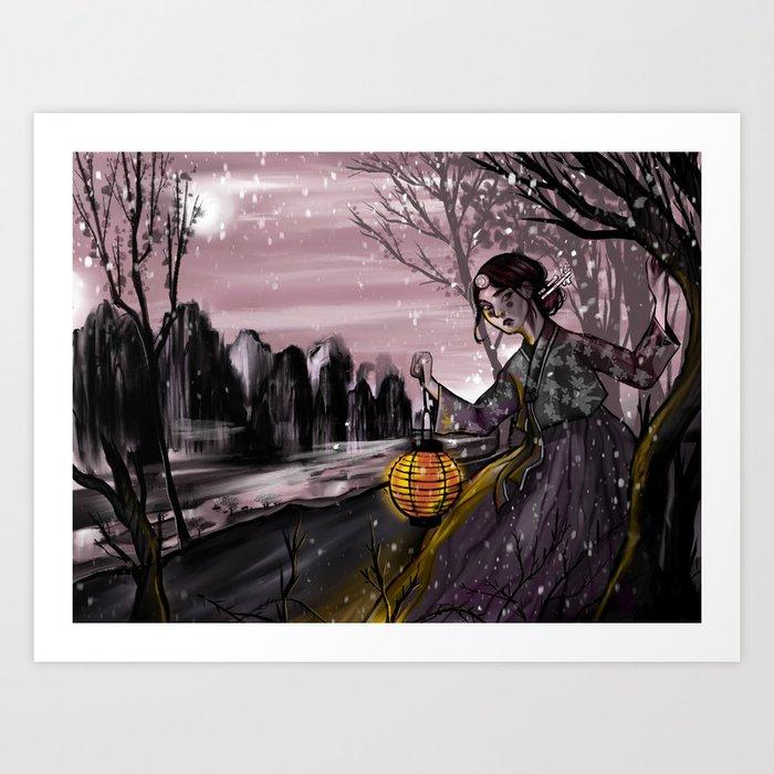Runaway bride under the moon Kunstdrucke