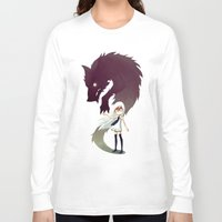 wolf Long Sleeve T-shirts featuring Werewolf by Freeminds