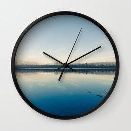 A blue  winter lake Wall Clock