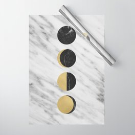 Black Moon on Marble Wrapping Paper