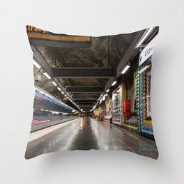 Västra skogen Metro Station in Stockholm, Sweden Throw Pillow