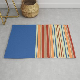 Bold blue Abstract Line Rug