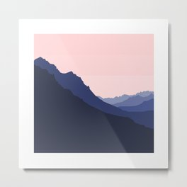 Peyto Lake Skyline - Pink Metal Print