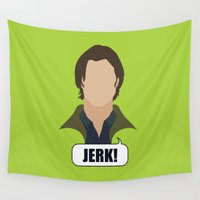 dean winchester Wall Tapestries featuring 2 Sam Winchester by Alice Wieckowska