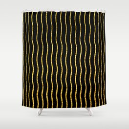 Art Deco Glitter-Gold Wavy Lines on Black Pattern Shower Curtain