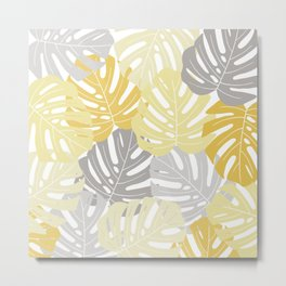 Yellow monstera deliciosa leaves Metal Print
