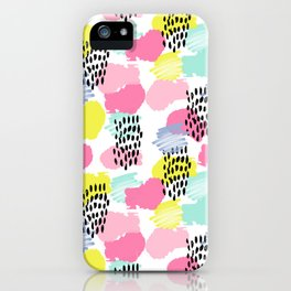 Bright happy painted pattern nursery baby gifts black and white spring summer home decor iPhone Case