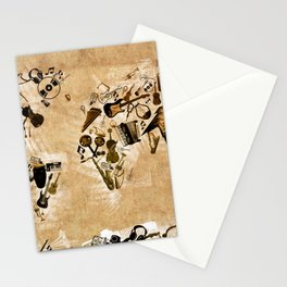 world map music 2 Stationery Cards