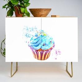 Cupcake watercolor illustration Credenza