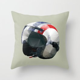 Tag Heuer Steve McQueen Cafe Racer Helmet Polygon Art Throw Pillow