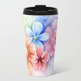 Flowers Watercolor Floral Colorful Rainbow Painting Travel Mug