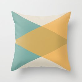 Mid Century - Yellow and Blue Throw Pillow