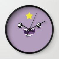 lumpy space princess Wall Clocks featuring Lumpy Space Princess  by Kezarah