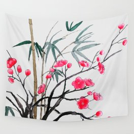 bamboo and red plum flowers Wall Tapestry