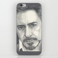 robert downey jr iPhone & iPod Skins featuring Robert Downey Jr by Heather Andrewski
