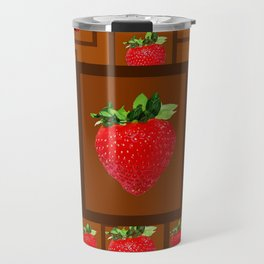 Cinnamon Spice Brown Strawberries Modern Design Travel Mug