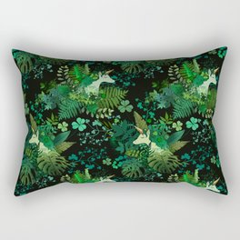 Irish Unicorn in a Garden of Green Rectangular Pillow