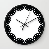 wall clock Wall Clocks featuring Scallop lace wall clock by lllg