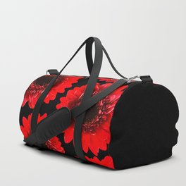 Red Flowers On A Black Background #decor #buyart #society6 Duffle Bag