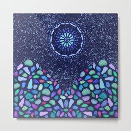 Sea Glass Mountain Night Mosaic Metal Print