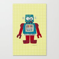 50s Canvas Prints featuring whirr 50s retro robot by blossyfloss