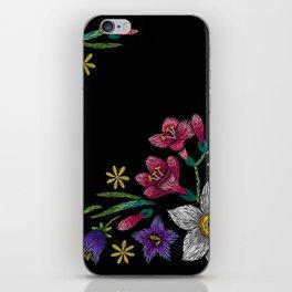 Embroidered Flowers on Black Corner 02 iPhone Skin