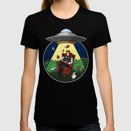 Book Reading Alien Abduction UFO T-shirt