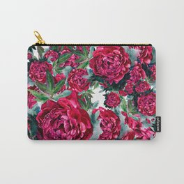 Watercolor Peony Pattern Carry-All Pouch
