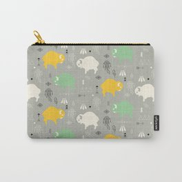 Seamless pattern with cute baby buffaloes and native American symbols, gray Carry-All Pouch