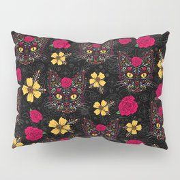 Day of the Dead Kitty Cat Sugar Skull Pillow Sham