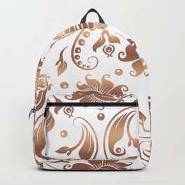 Light Copper & White Floral Damasks Backpack