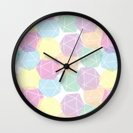 Pastel D20 Pattern Dungeons and Dragons Dice Set Wall Clock