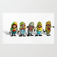 minions Area & Throw Rugs featuring zombie minons by byron rempel