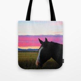 Montana Mustang at Sunset Tote Bag