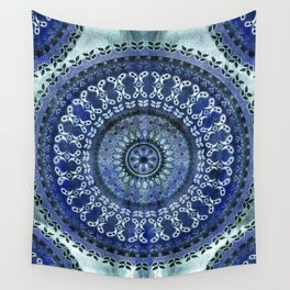 Vintage Blue Wash Mandala Wall Tapestry
