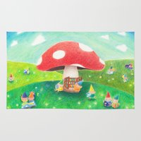 library Area & Throw Rugs featuring Mushroom library by ah li