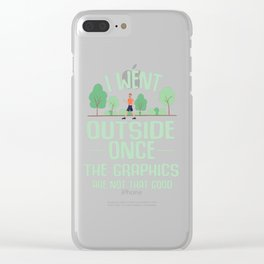 Gamer Outdoors Graphic Break Resolution Joke Gift Clear iPhone Case