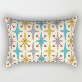 Mid Century Modern Abstract Star Pattern 441 Gray Brown Turquoise Olive Green Rectangular Pillow