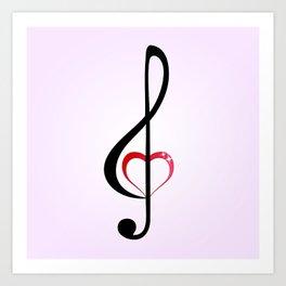 Heart music clef Art Print