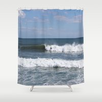 surfer Shower Curtains featuring Surfer by moonstarsunnj