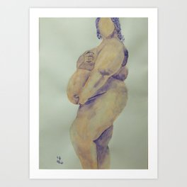 Pregnant Naked Beauty Art Print